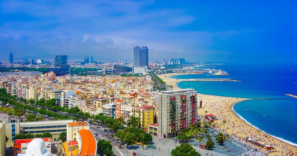 Beaches in barcelona from an upper view. From la Barceloneta to Nova Icaria, Barcelona offers many beaches